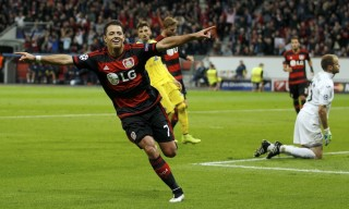Bayer Leverkusen's Hernandez reacts after scoring the third goal against BATE Borisov during their Champions League group E soccer match in Leverkusen