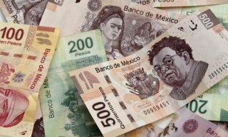 Mexican Pesos bank notes currency bills money background